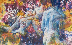 Double Nude, Tempa and pastel on paper, by Mabrie Ormes
