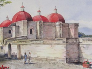 The Church at Mitla watercolor by Joan Whitsett