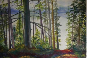 Lost Creek Lake, watercolor by Judy Bjorlie