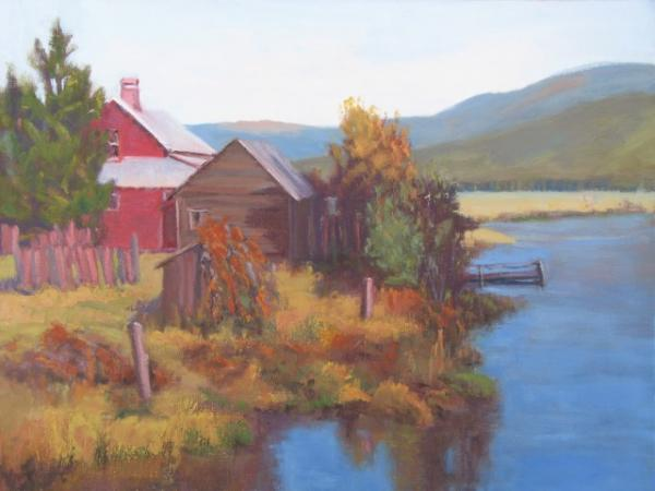 Red House on Wood River, Oil, Linda Curtis