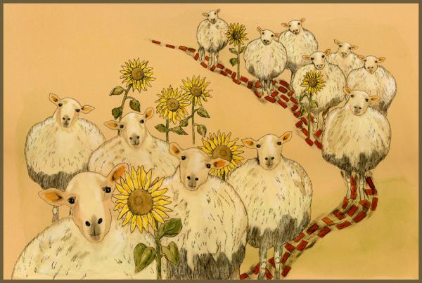 Sunflowers...and Some Sheep, pen and ink by Gwen Kirk