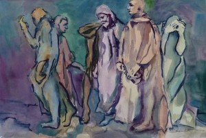 """Rodin's Garden,The Burghers of Calais"" watercolor by Sue Bennett"