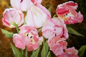 Fancy Tulips, watercolor by Judy Bjorlie