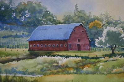 Barn on Tree Farm, watercolor by Judy Bjorlie