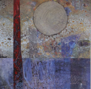 """Blue Sail Passes Red Tree"" mixed media by Eve Margo Withrow"