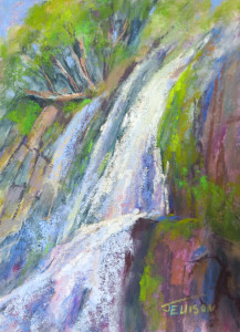 """High Desert Falls 2"" Pastel by Janis Ellison"