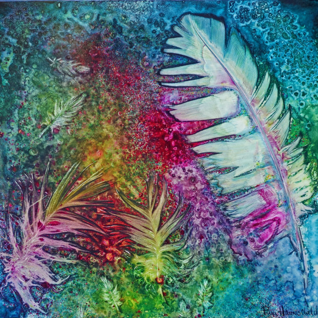 """Feather Dance""  Watercolor on claybord by Pamela Haunschild"