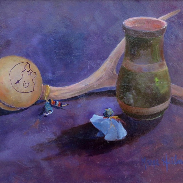 """Rattle Vase and Frog"" Oil by Marge Heilman"