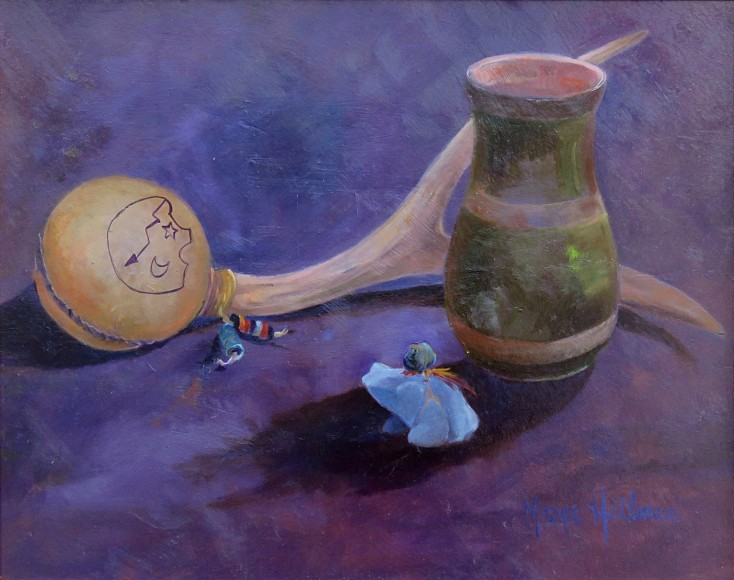 """""""Rattle Vase and Frog"""" Oil by Marge Heilman"""