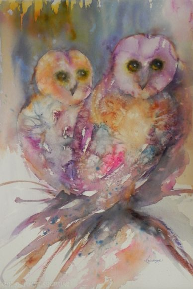 """Hooters"" Watercolor by Kay Myer"