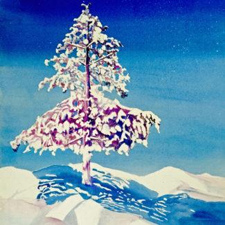 """SnowMoon""  Watercolor by Pamela Haunschild"