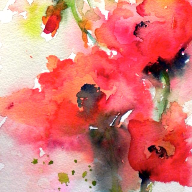 """Red Bloomers"" Watercolor by Kay Myer"