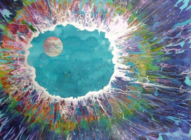 """Sky Lake Moon"" Mixed water media painting by Eve Margo Withrow"