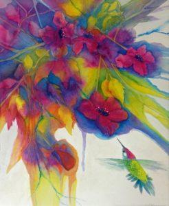 """Anna's Trumpet"" Watercolor by Pamela Haunschild"