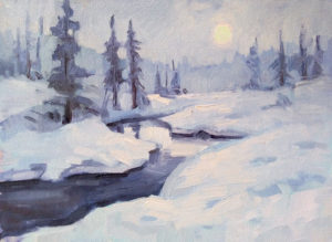 """Winter Snowscape"" Oil by Pam Haunschild"