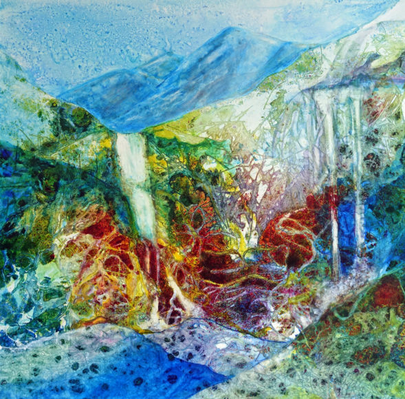 """Cascading"" painting by Pam Haunschild"