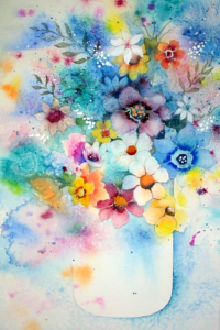 """Fantasy Flower #2"" Watercolor by Sydney Embry"
