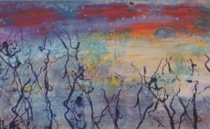 Moonrise-High Tide, Mixed Media by Eve Margo Withrow