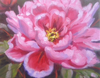 """Peony Flower"" Oil on Canvas by Alice Niemiec"