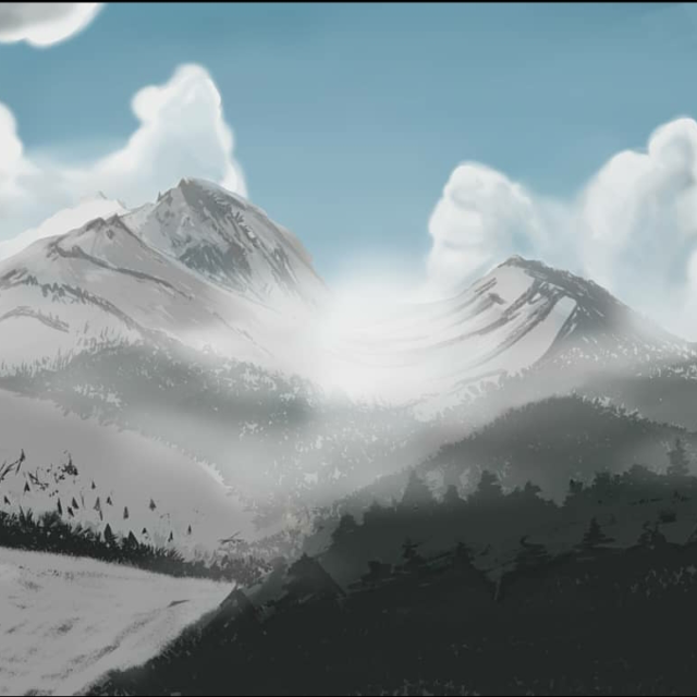 """Snowy Aurora"" by Jessica Hitchcock ~Digital Painting"