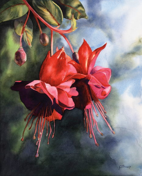 """Fuschia Fireworks"" watercolor by Joan L Brown"