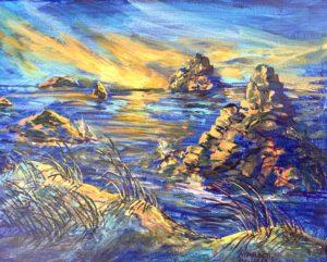 Blue Remembering by Marjett Schille Mixed Media