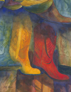 """These Boots Were Made For Walking"" watercolor by Betty Barss"