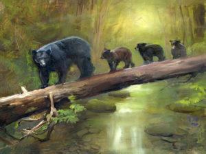 Oil painting by artist Jenay Elder of black bears
