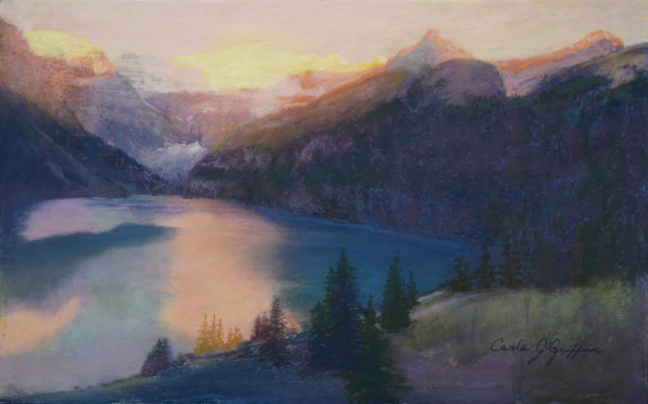 First Light at Lake Louise pastel by Carla J Griffin