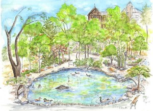 Lithia Park, Watercolor, Pen and Ink by Carolee Buck