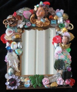 Jewel Encrusted Mirror by Wendy Gell