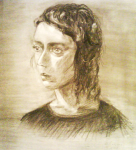 Barbara Correns' Portrait in Charcoal from Jenay Elder's Portrait Drawing Class at AAC