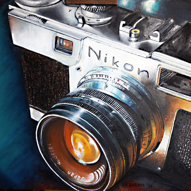 Realistic Nikon S2, oil painting by Terry Frosini