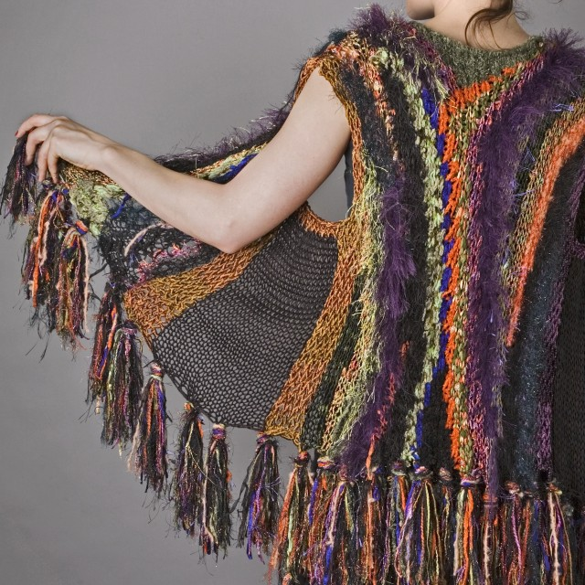 """""""Laughing Lupine Poppy Fields"""" abstract knit vest"""