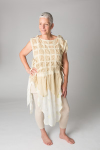 Nuno Felt Dress Dyed in Comfrey leaves and Printed with Crab apples