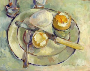 "New member Sandra Davis' Painting,""Soft Boiled Eggs"""