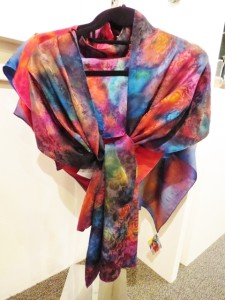 Silk hand-dyed shawls by Connie Simonsen