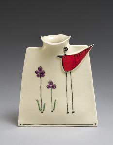 "Hand build ""Crazy Bird"" vase, by Cheryl Kempner"