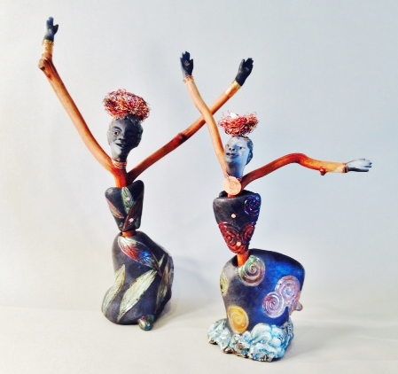 """Dancing with Fire,"" raku sculpture by Lorene Senesac"