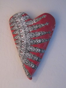 Hand built clay heart - Cheryl Kempner