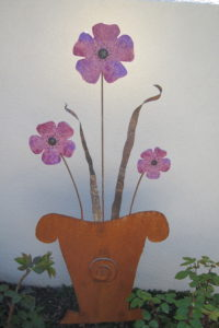 Pot and purple flowers