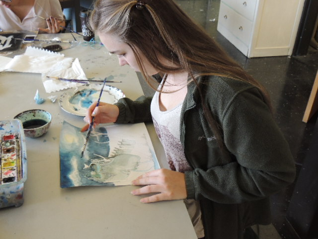 Student artist, Sonora Mindling-Werling painting