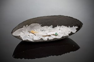 New Moon Vessel, 2013, pate de verre (fused glass)   15 1/2 x 5 1/2 x 5 1/2 in