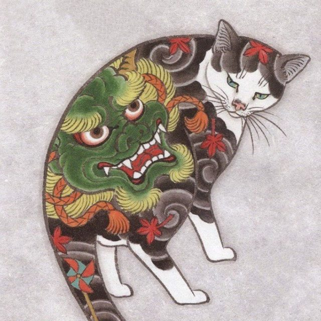 tattoo cat - artist unknown