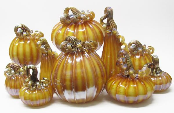 Gathering Glass Studio, Golden Pumpkins and Gourds, Blown Glass