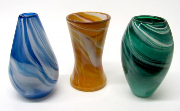 Gathering Glass Studio, Blown Glass, Trio of Vases