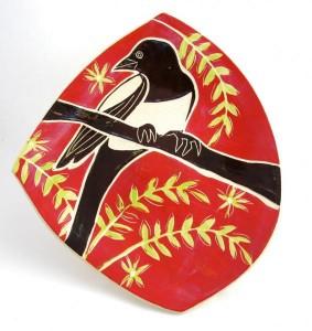 "Julia Janeway, ""Magpie"", ceramic platter"