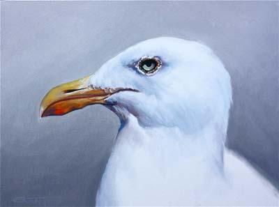 "Ken Grant, ""Seagull"" Oil on Canvas"