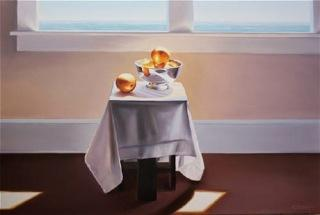 "Ken Grant, "" Back Lite Table with Stilllife"" Oil on canvas"