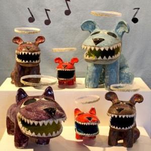 """Lilli Faville, """"Fa la la la la Choir"""", ceramic sculpture"""